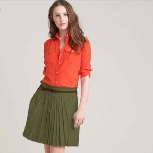 J. Crew Olive Green Linen Pleated A-Line Skirt